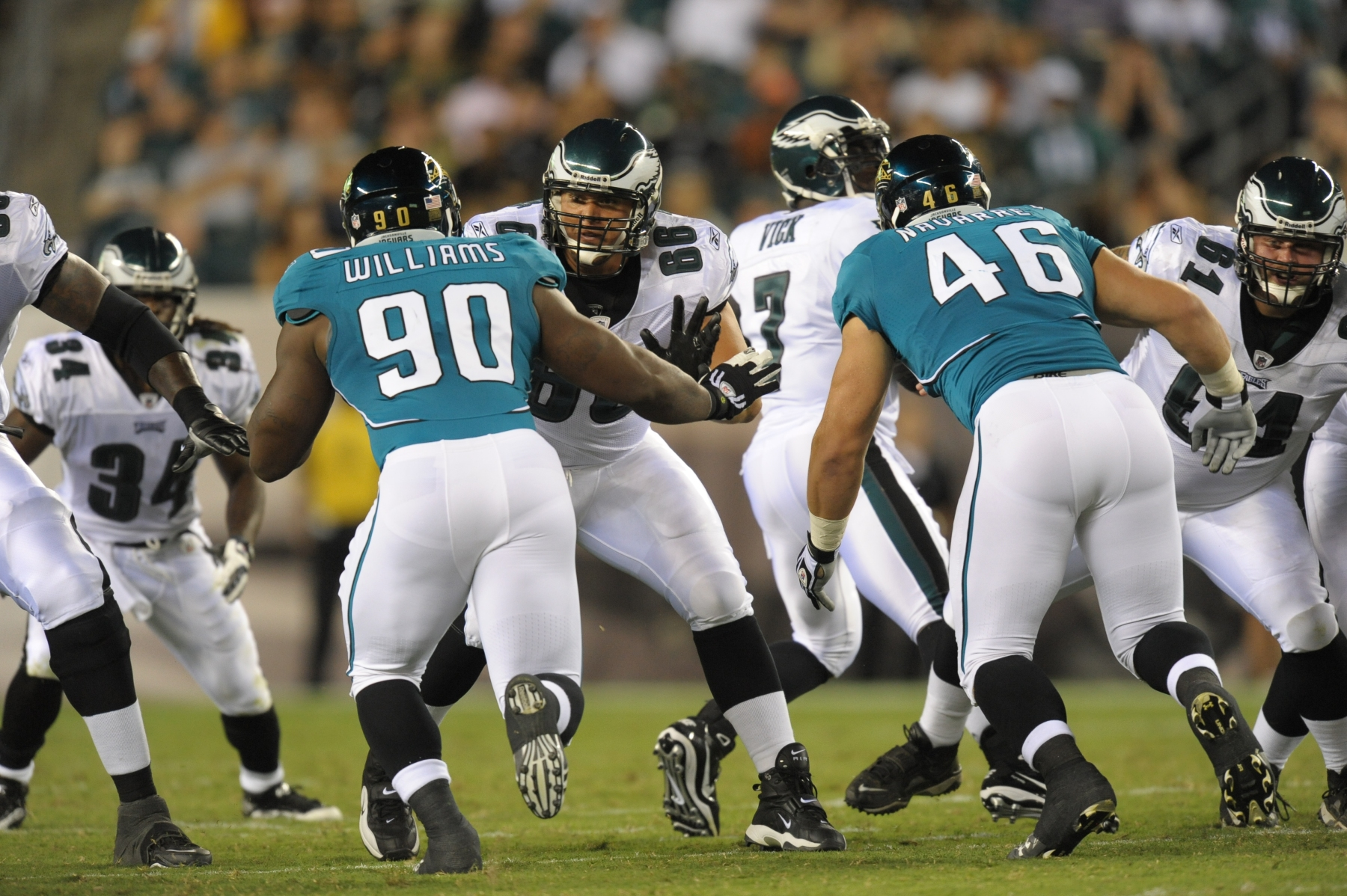 PHILADELPHIA - AUGUST 13: Guard Dallas Reynolds #66 of the Philadelphia Eagles blocks during the preseason game against the Jacksonville Jaguars on August 13, 2010 at Lincoln Financial Field in Philadelphia, Pennsylvania. The Eagles won 28-27. (Photo by Drew Hallowell/Getty Images)