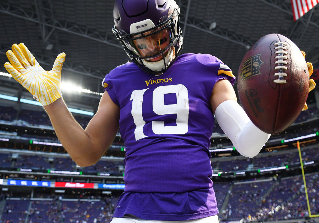 Minnesota Vikings Wide Receiver Adam Thielen (19) warms up before a NFL game between the Minnesota Vikings and Buffalo Bills on September 23, 2018 at U.S. Bank Stadium in Minneapolis, Minnesota.(Photo by Nick Wosika/Icon Sportswire via Getty Images)
