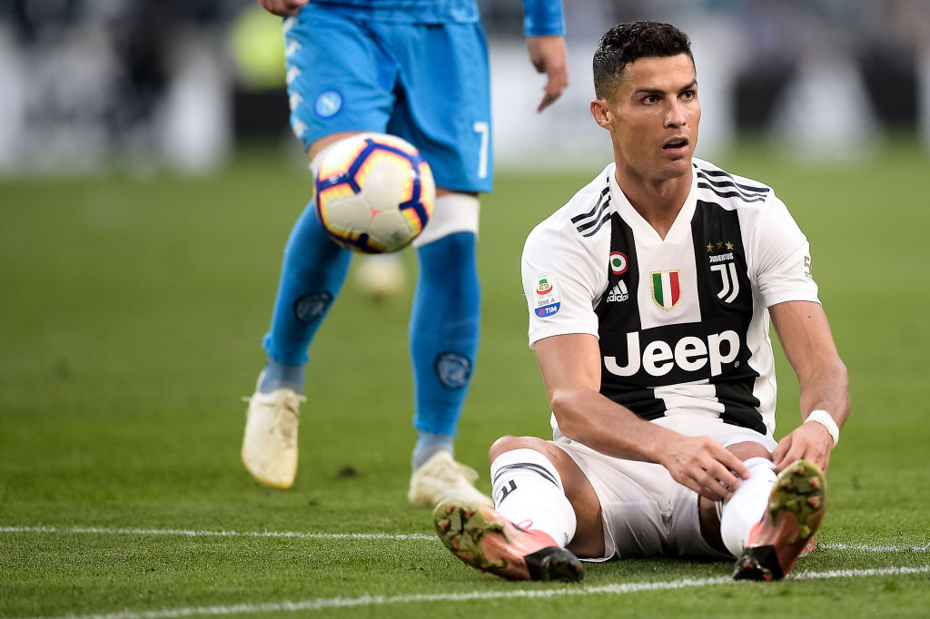 Cristiano Ronaldo of Juventus FC looks dejected during the Serie A football match between Juventus FC and SSC Napoli. Juventus FC won 3-1 over SSC Napoli. (Photo by Nicolò Campo/LightRocket via Getty Images)