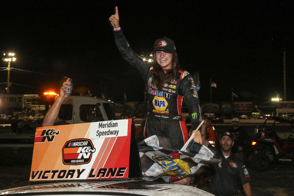 Hailie Deegan, driver of the #19 NAPA Power Premium Plus Toyota, celebrates her first victory at the conclusion of the NASCAR K&N Series West NAPA Auto Parts Idaho 208 at Meridian Speedway on September 29, 2018 in Meridian, Idaho. (Photo by Loren Orr/Getty Images for NASCAR)