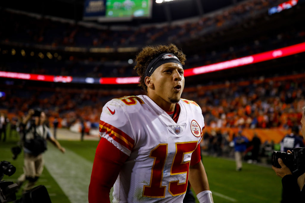 DENVER, CO - OCTOBER 1:  Quarterback Patrick Mahomes #15 of the Kansas City Chiefs celebrates a 27-23 win over the Denver Broncos at Broncos Stadium at Mile High on October 1, 2018 in Denver, Colorado. (Photo by Justin Edmonds/Getty Images)