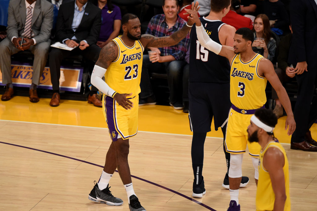 LOS ANGELES, CA - OCTOBER 2: LeBron James #23 and Josh Hart #3 of the Los Angeles Lakers react during a pre-season game against the Denver Nuggets on October 2, 2018 at Staples Center in Los Angeles, California. (Photo by Adam Pantozzi/NBAE via Getty Images)