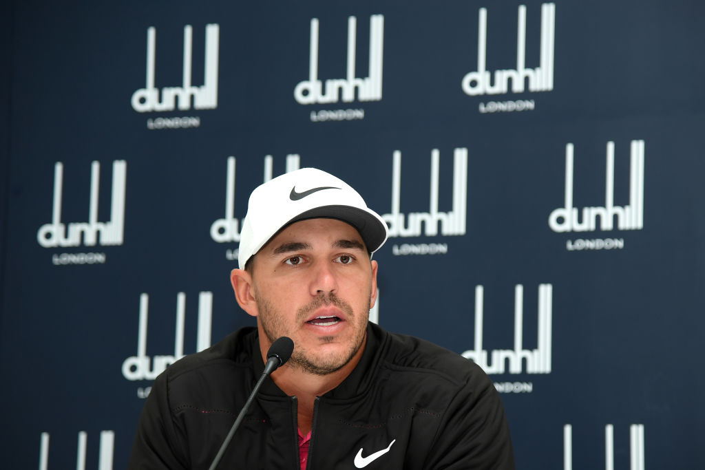 ST ANDREWS, SCOTLAND - OCTOBER 03:  Brooks Koepka of The United States attends a press confernce  during previews prior to the 2018 Alfred Dunhill Links Championship at The Old Course on October 3, 2018 in St Andrews, Scotland.  (Photo by Ross Kinnaird/Getty Images)
