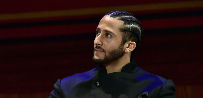Colin Kaepernick on stage at the W.E.B. Du Bois Medal Award Ceremony at Harvard University on October 11, 2018 in Cambridge, Massachusetts. (Photo by Paul Marotta/Getty Images)