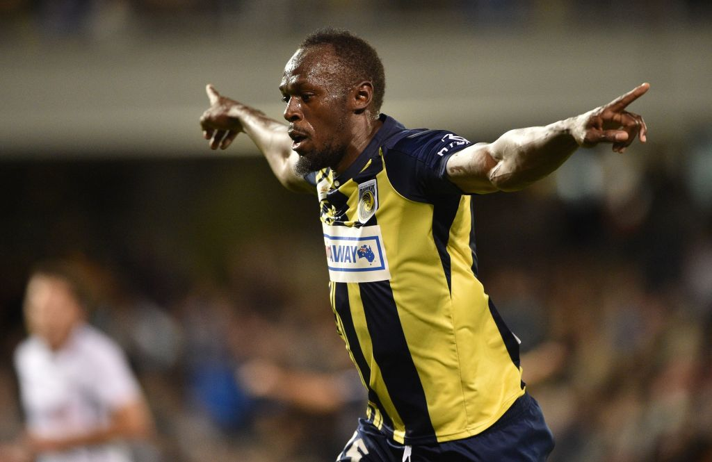 Olympic sprinter Usain Bolt celebrates scoring a goal for A-League football club Central Coast Mariners in his first competitive start for the club against Macarthur South West United in Sydney on October 12, 2018. (PETER PARKS/AFP/Getty Images)
