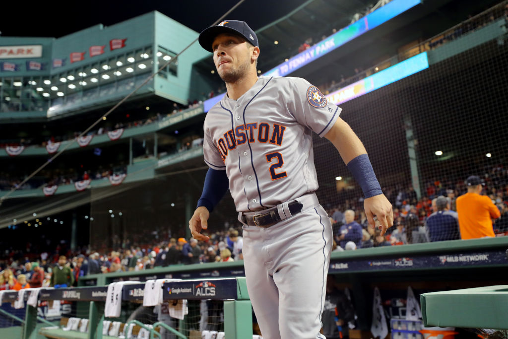 Alex Bregman #2 of the Houston Astros takes the field prior to Game 2 of the ALCS against the Boston Red Sox at Fenway Park on Sunday, October 14, 2018 in Boston, Massachusetts. (Photo by Alex Trautwig/MLB Photos via Getty Images)
