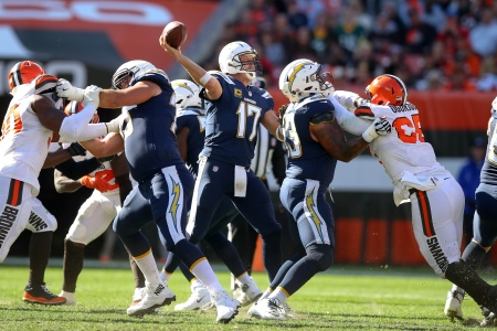 CLEVELAND, OH - OCTOBER 14: Los Angeles Chargers quarterback Philip Rivers (17) throws a pass during the third quarter of the National Football League game between the Los Angeles Chargers and Cleveland Browns on October 14, 2018, at FirstEnergy Stadium in Cleveland, OH. (Photo by Frank Jansky/Icon Sportswire via Getty Images)