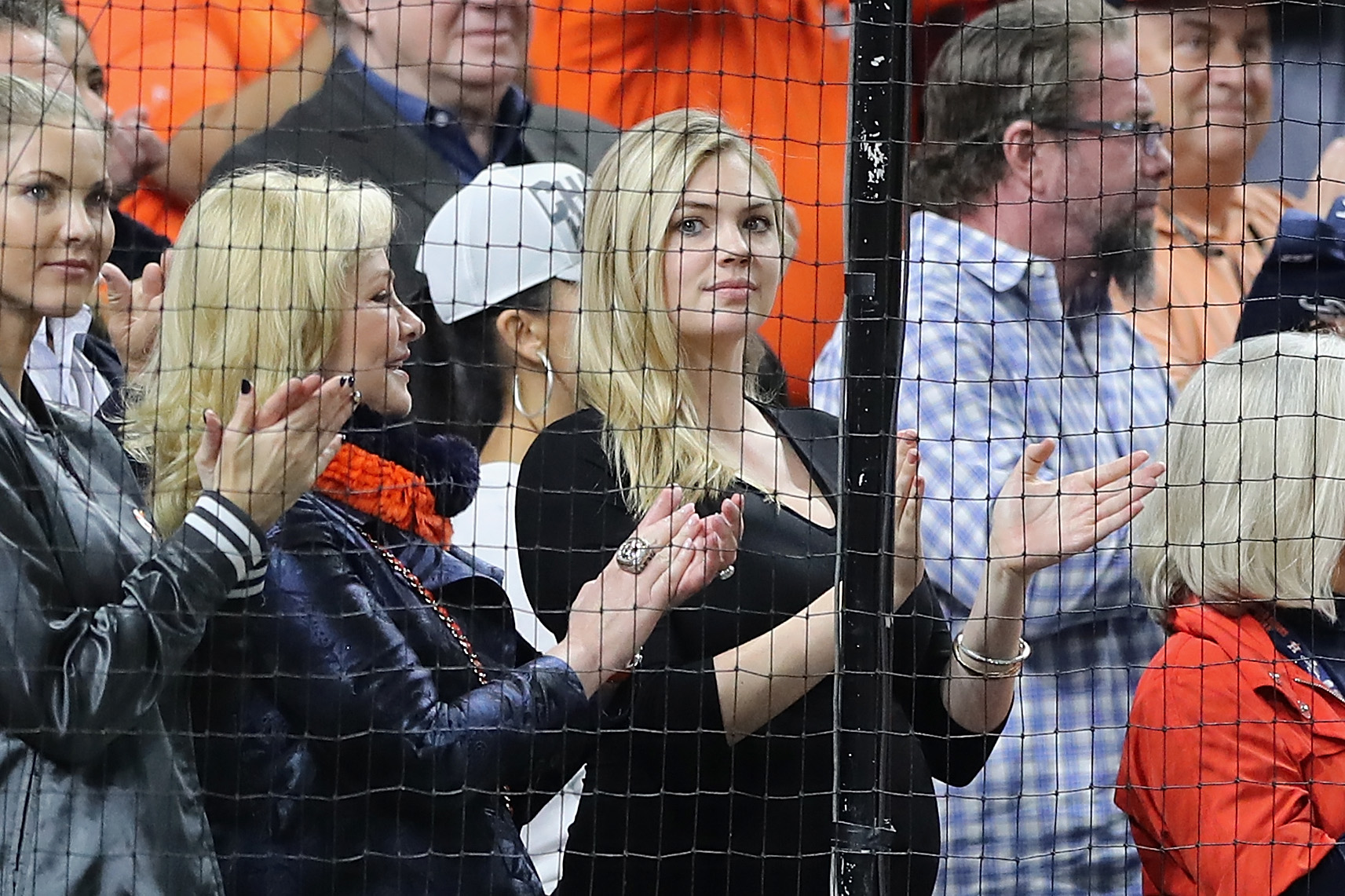 HOUSTON, TX - OCTOBER 17:  Kate Upton, wife of Justin Verlander #35 of the Houston Astros (not pictured), attends Game Four of the American League Championship Series between the Boston Red Sox and the Houston Astros at Minute Maid Park on October 17, 2018 in Houston, Texas.  (Photo by Elsa/Getty Images)