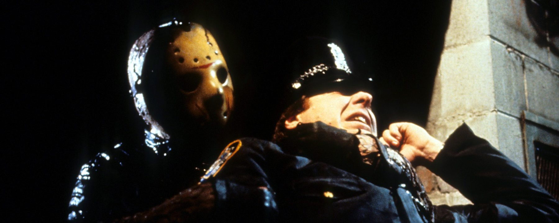 Jason grabs cop in a scene from the film 'Friday The 13th Part VIII: Jason Takes Manhattan', 1989. (Photo by Paramount/Getty Images)