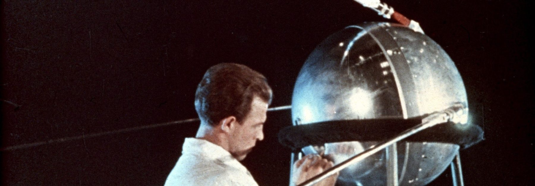 Soviet technician working on sputnik 1, 1957. (Photo by: Sovfoto/UIG via Getty Images)
