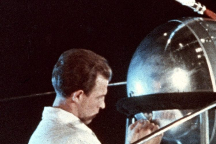 Soviet technician working on sputnik 1, 1957. (Photo by: Sovfoto/UIG via Getty Images)