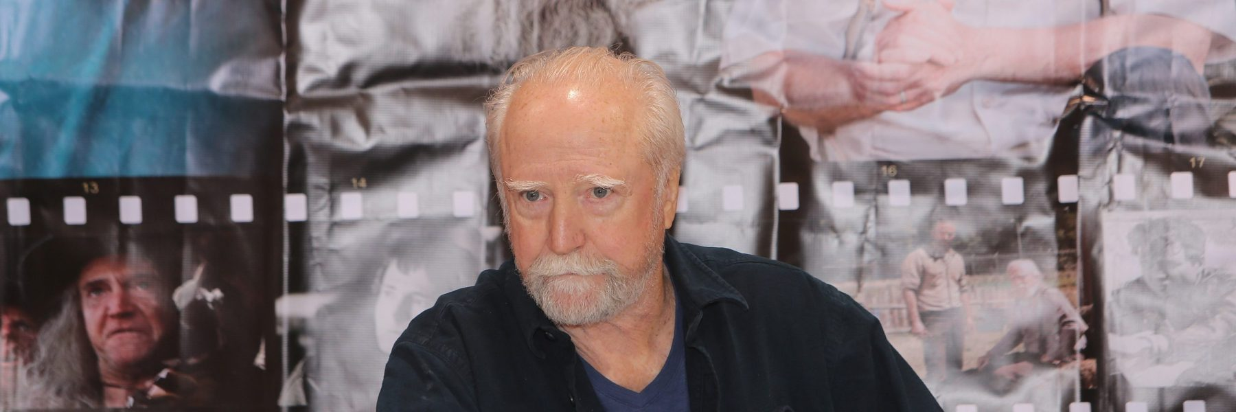 """Scott Wilson (""""Dr. Hershel Greene,"""" on AMC's The Walking Dead) attends the Motor City Comic Con, at Suburban Collection Showplace on May 15, 2015 in Novi, Michigan.  (Photo by Monica Morgan/WireImage)"""