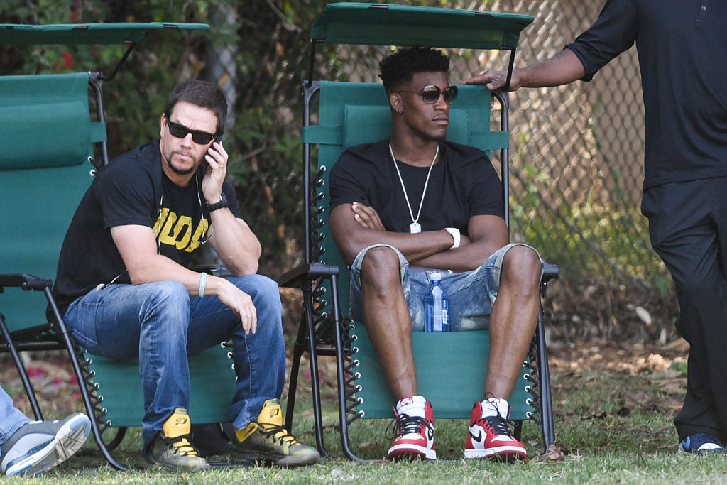LOS ANGELES, CA - MAY 30: Mark Wahlberg and Jimmy Butler are seen in Los Angeles on May 30, 2015 in Los Angeles, California.  (Photo by GONZALO/Bauer-Griffin/GC Images)