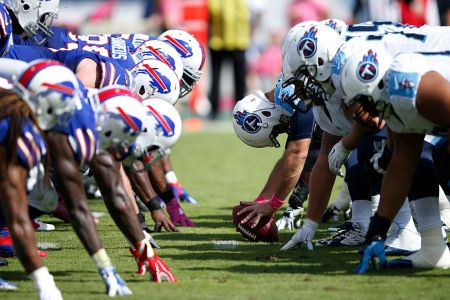 NASHVILLE, TN - OCTOBER 11: The Tennessee Titans face off at the line of scrimmage against the Buffalo Bills during a game at Nissan Stadium on October 11, 2015 in Nashville, Tennessee. (Photo by Joe Robbins/Getty Images)