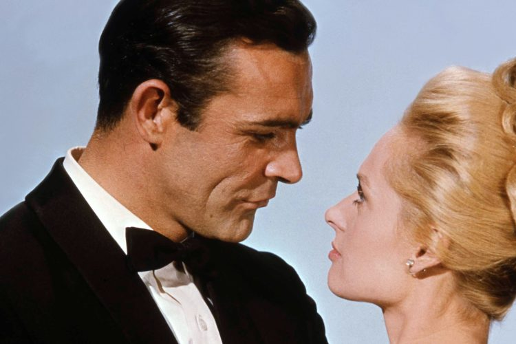 Sean Connery and Tippi Hedren on the set of Marnie, based on the novel by Winston Graham and directed and produced by British Alfred Hitchcock. (Photo by Universal Pictures/Sunset Boulevard/Corbis via Getty Images)