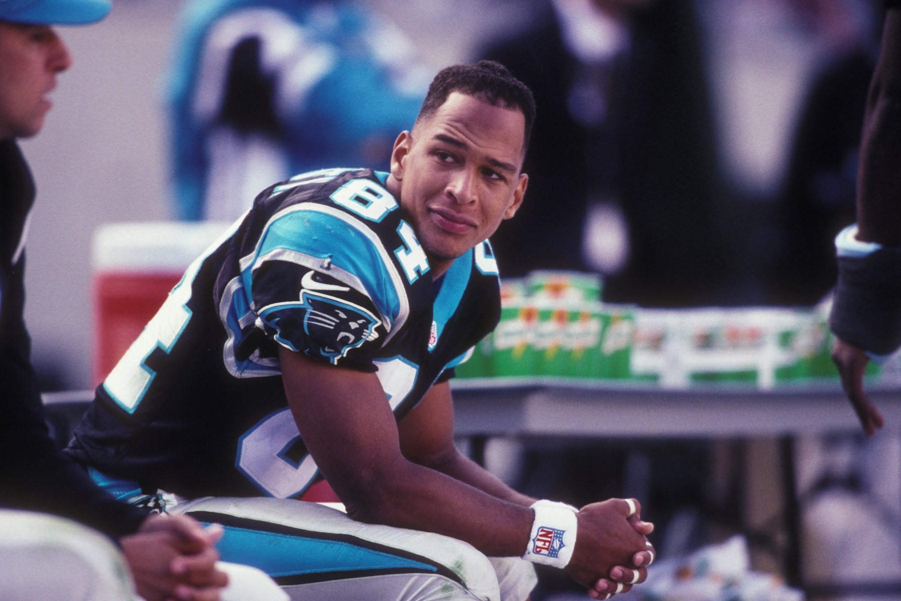 Rae Carruth #83 of the Carolina Panthers during a NFL football game against the Oakland Raiders on November 2, 1997 at Ericsson Stadium in Charlotte, North Carolina.   (Photo by Mitchell Layton/Getty Images)