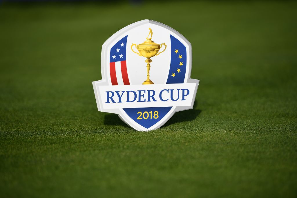 View a logo of The Ryder cup taken during the 2018 Ryder Cup media day on october 16, 2017 at the Golf National in Guyancourt, near Paris, the venue of the event, to be held next year. (AFP PHOTO / FRANCK FIFE/Getty Images)