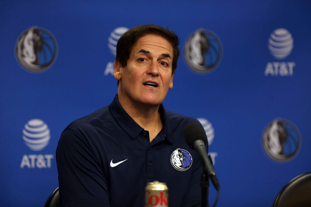 DALLAS, TEXAS - FEBRUARY 26: Team owner Mark Cuban looks on during a press conference to introduce Cynthia Marshall as the new Dallas Mavericks Interim CEO at American Airlines Center on February 26, 2018 in Dallas, Texas. (Photo by Omar Vega/Getty Images)