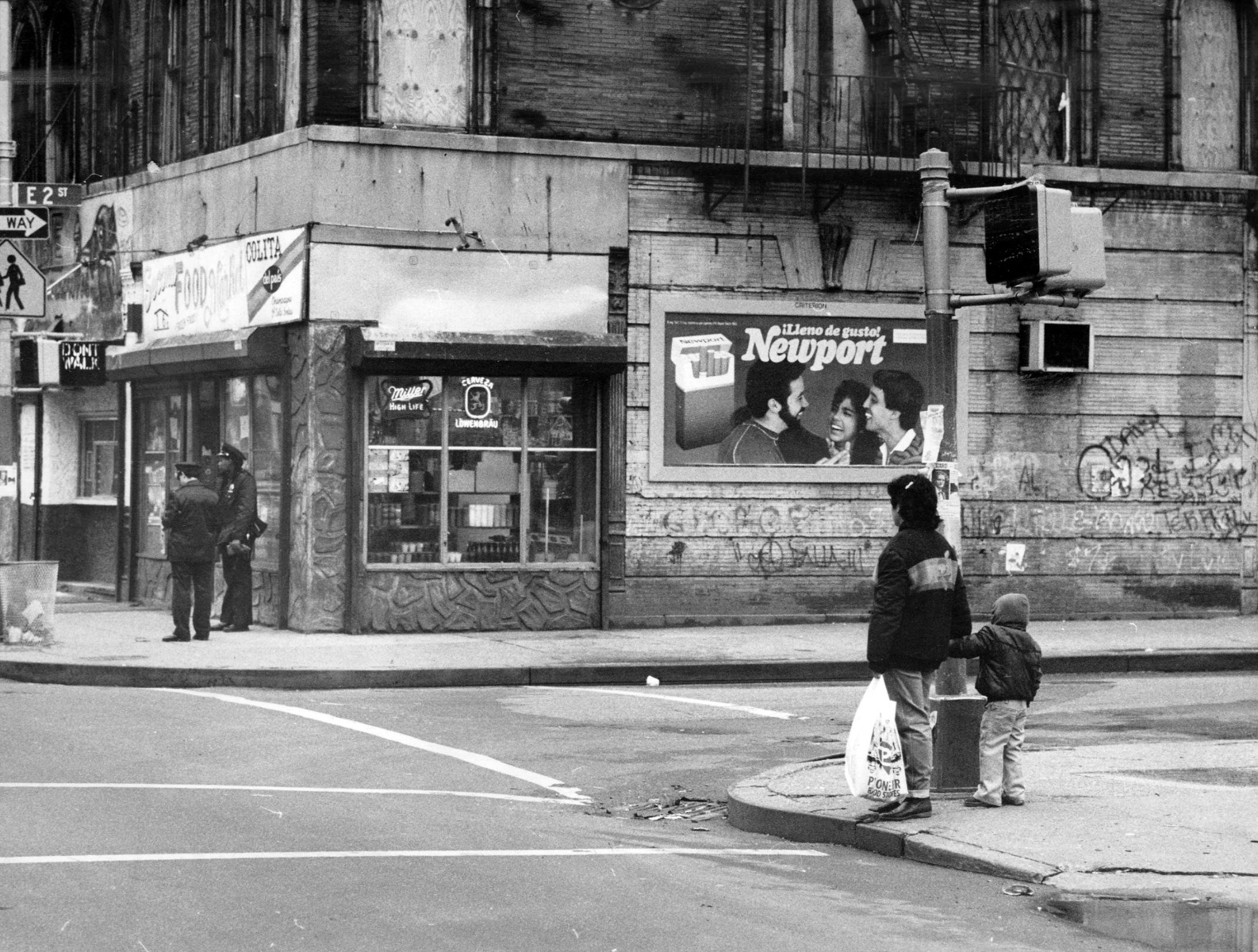 Avenue B and E. 2nd St. in the East Village.  (Photo by Mel Finkelstein/NY Daily News Archive via Getty Images)