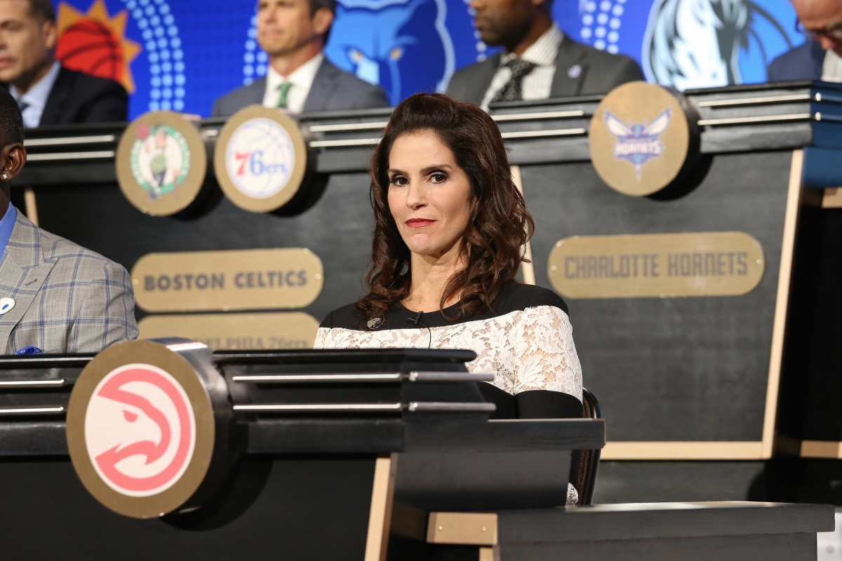 Jami Gertz represents the Atlanta Hawks during the NBA Draft Lottery on May 15, 2018 at The Palmer House Hilton in Chicago, Illinois. Gertz has become the face of the Hawks' organization since her husband Tony Ressler and Grant Hill assumed ownership in 2015. (Photo by Gary Dineen/NBAE via Getty Images)
