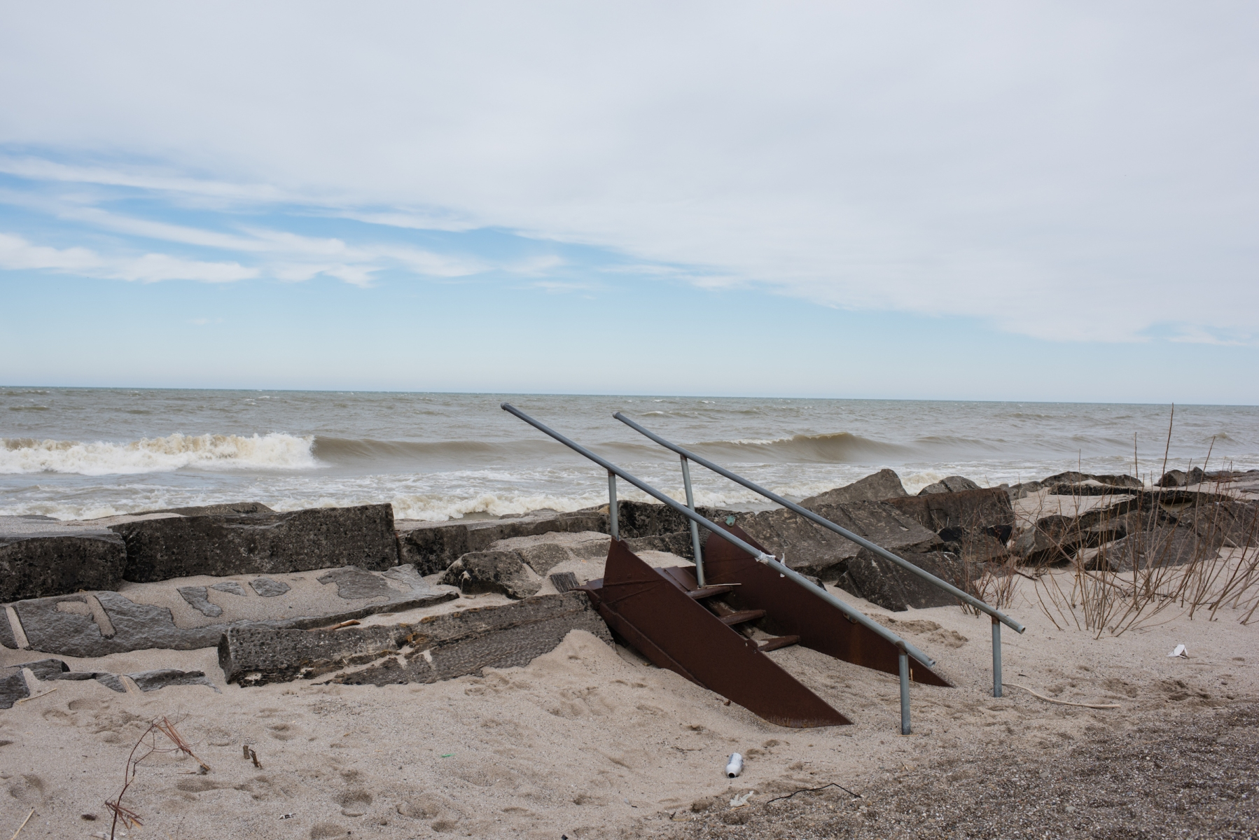 A view of Lake Erie the parking lot of Walnut Beach in Ashtabula, Ohio on Sunday, February 25th, 2018. Pieces of the oldest shipwreck in Lake Erie may have recently been recovered. (Dustin Franz/For The Washingotn Post)
