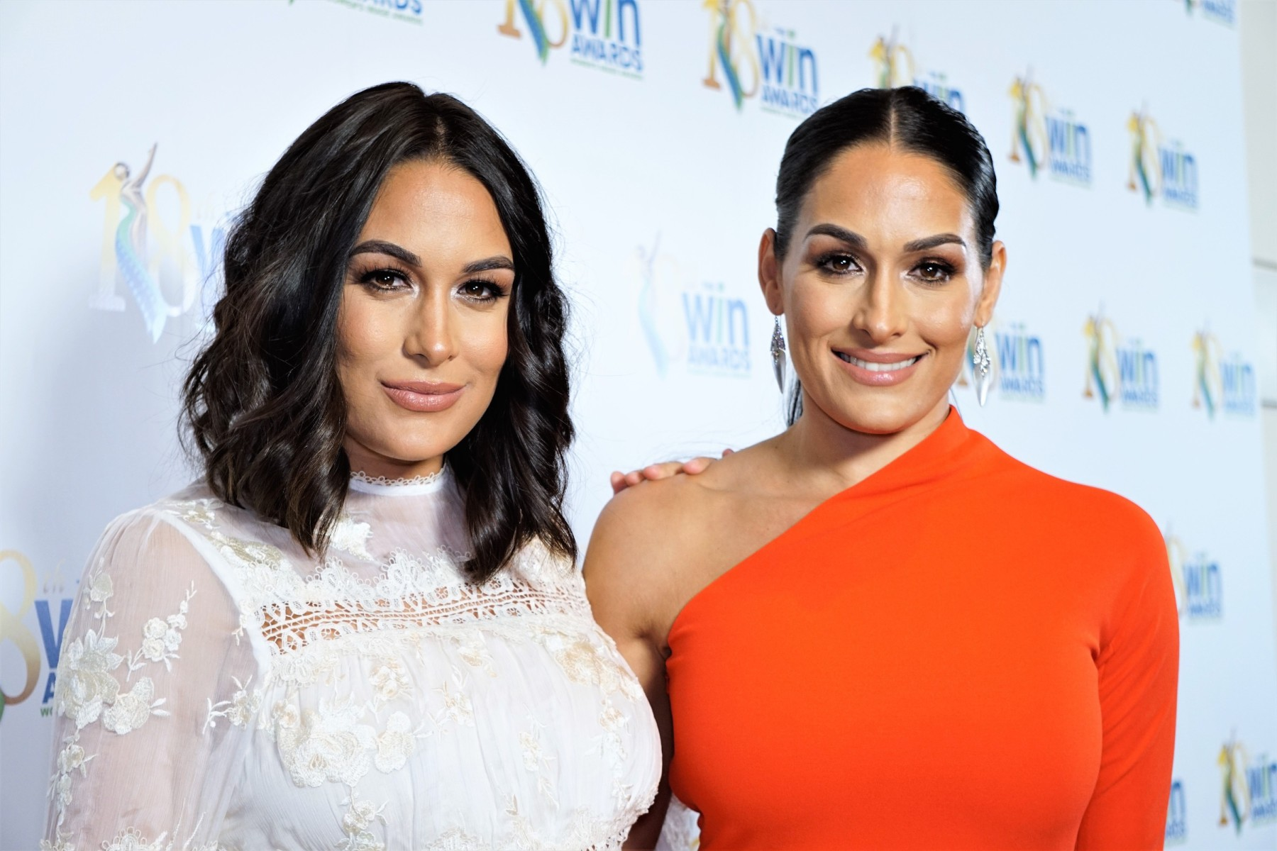 WWE superstars Nikki Bella and Brie Bella attend the 18th Annual Women's Image Awards at Skirball Cultural Center on February 17, 2017 in Los Angeles, California. The Bella Twins recently returned to the WWE ring. (Photo by Mintaha Neslihan Erolu/Anadolu Agency/Getty Images)