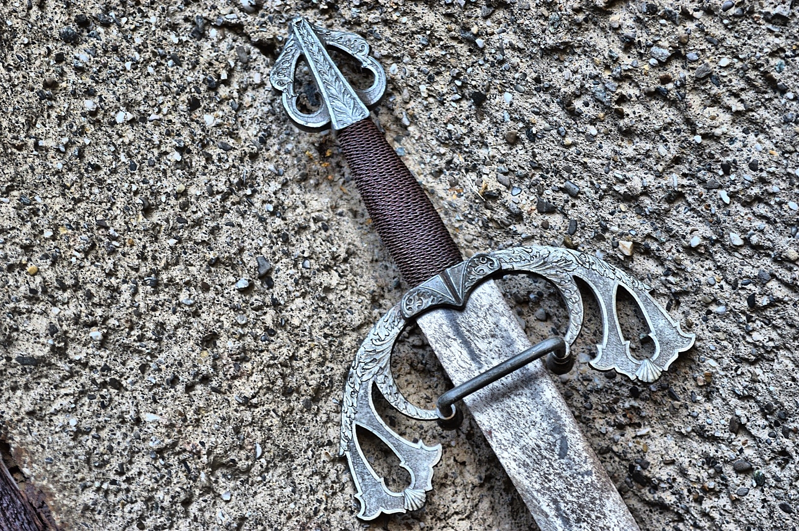Close-Up Of Sword On Wall. An eight-year-old in Sweden recently discovered a 1,500-year-old sword at the bottom of a lake. (Photo by Alexandar Kling/EyeEm/Getty Images)