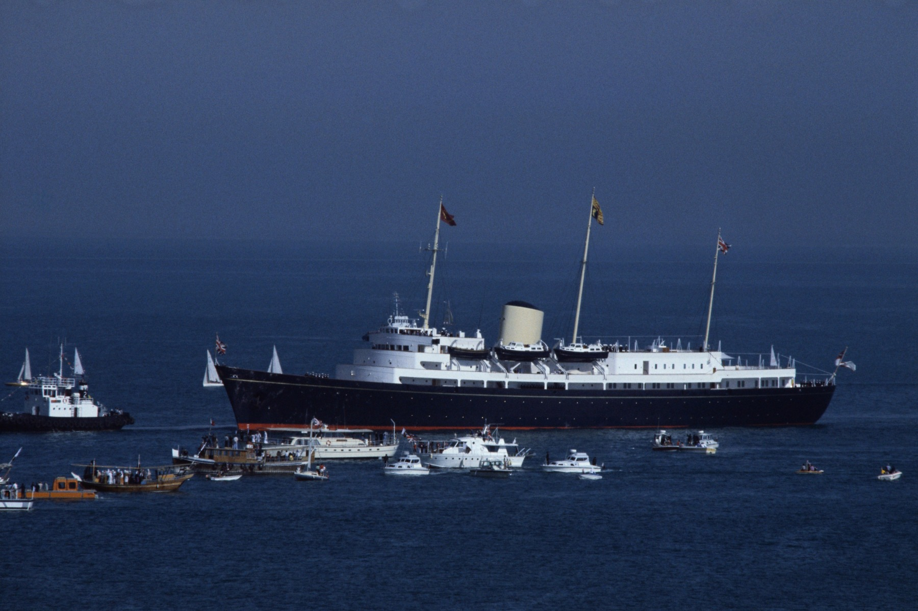 Her Majesty's Yacht Britannia, also known as the Royal Yacht Britannia, is the former royal yacht of the British monarch, Queen Elizabeth II, in service from 1954 until 1997. It currently sits at dock in Scotland. (Photo by David Levenson/Getty Images)