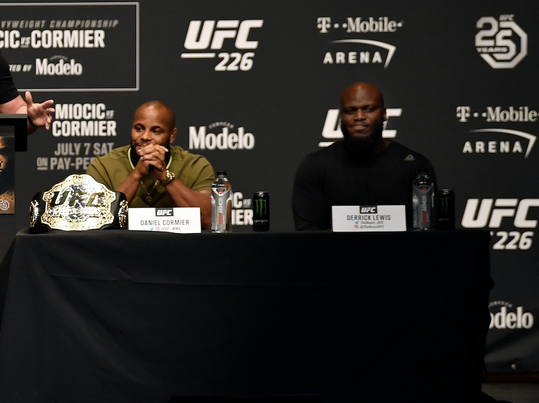 LAS VEGAS, NEVADA - JULY 05: Daniel Cormier and Derrick Lewis on the dais during the UFC 226 Press Conference inside The Pearl concert theater at Palms Casino Resort on July 5, 2018 in Las Vegas, Nevada. (Photo by Jeff Bottari/Zuffa LLC/Zuffa LLC via Getty Images)