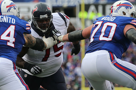 06 December 2015: Houston Texans nose tackle Vince Wilfork (75) in action being blocked by Buffalo Bills offensive guard Richie Incognito (64) during a NFL game between the Houston Texans and Buffalo Bills at Ralph Wilson Stadium in Orchard Park, NY. (Photo by Kellen Micah/Icon Sportswire)