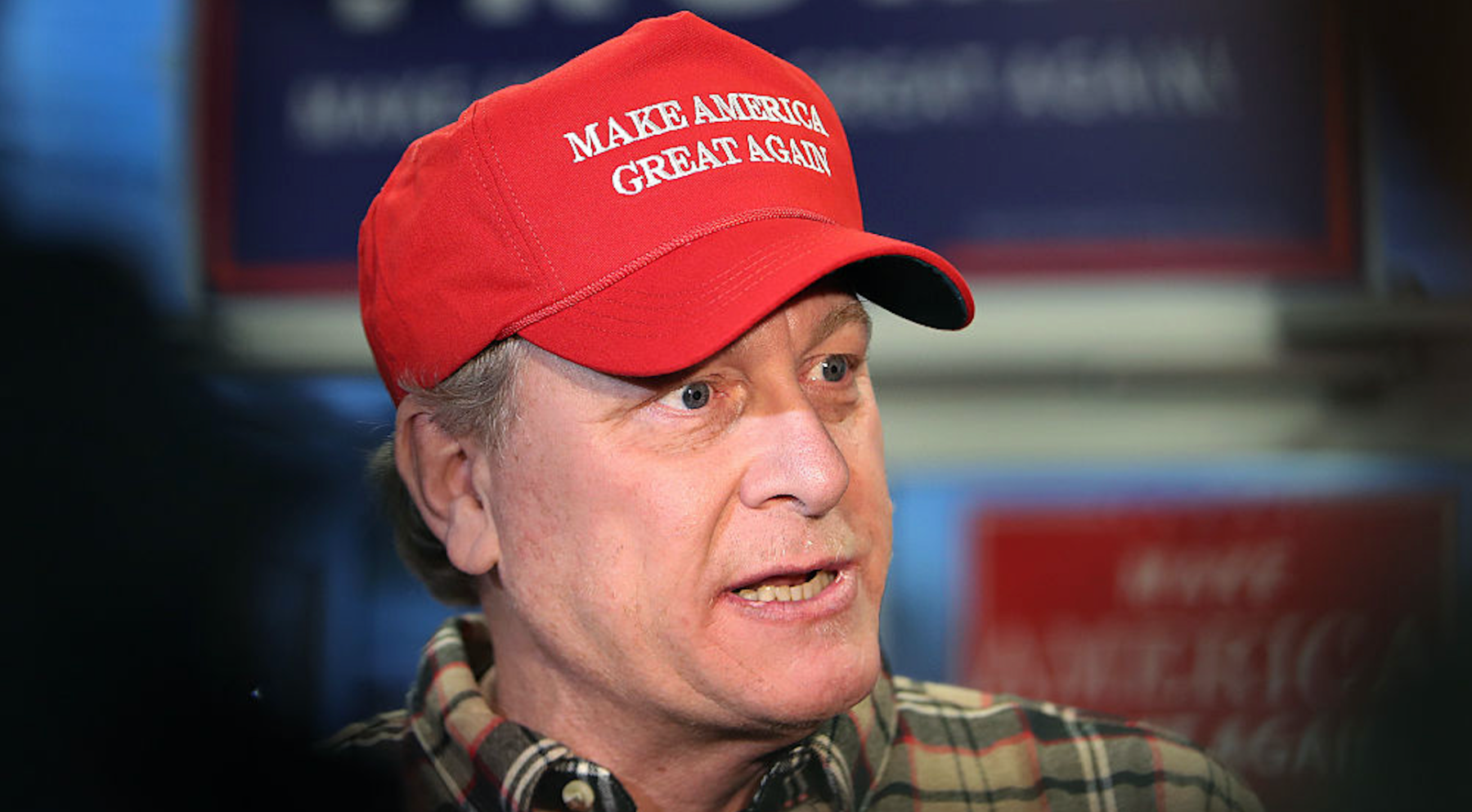 SALEM, NH - OCTOBER 18: Former Boston Red Sox pitcher Curt Schilling speaks to the gathered media as he makes an appearance at a Republican Party office in Salem, NH to stump for the presidential candidacy of Donald Trump on Oct. 18, 2016. (Photo by Jim Davis/The Boston Globe via Getty Images)