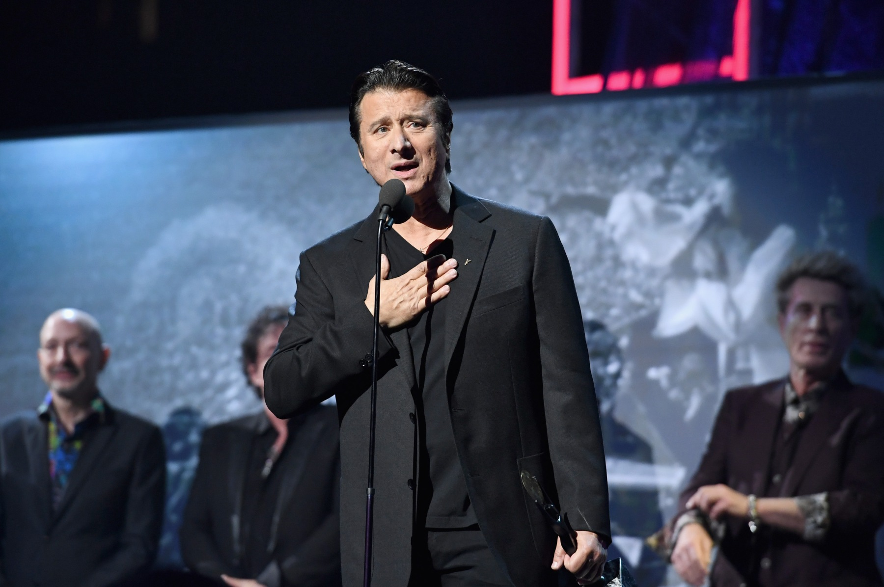 Steve Perry onstage at the 32nd Annual Rock & Roll Hall Of Fame Induction Ceremony at Barclays Center on April 7, 2017 in New York City. Perry recently opened up in an interview about his departure from Journey and the experience that led him back to making music. (Photo by Dimitrios Kambouris/WireImage for Rock and Roll Hall of Fame/Getty Images)