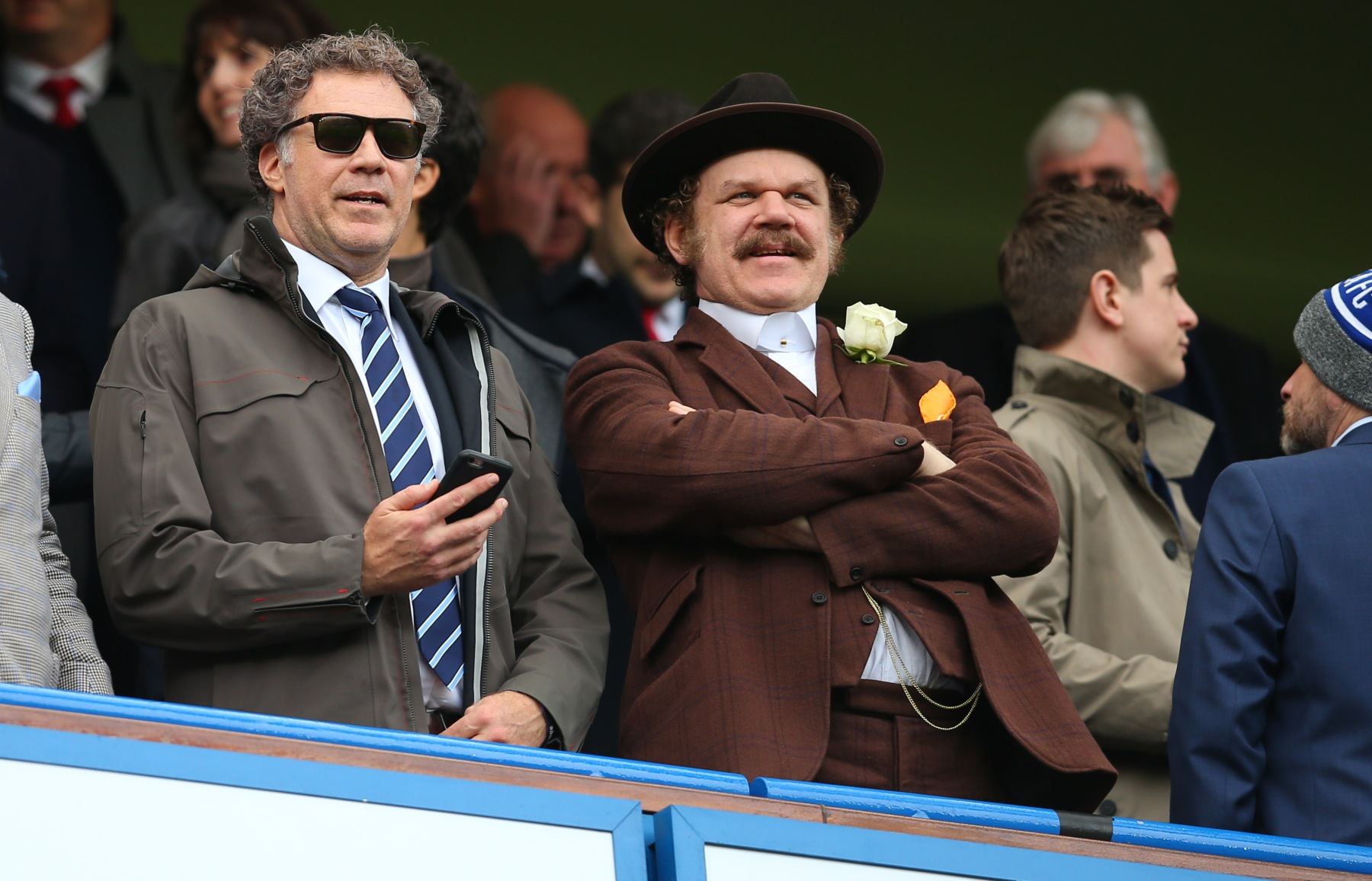 "Will Ferrell and John C Reilly during the Premier League match between Chelsea and Arsenal at Stamford Bridge on February 4, 2017 in London, England. The trailer for Ferrell and Reilly's next movie ""Holmes and Watson"" was recently released. (Photo by Catherine Ivill - AMA/Getty Images)"