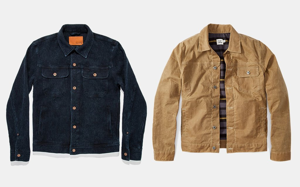 The Long Haul Jacket — Taylor Stitch; Flannel-Lined Waxed Trucker Jacket — Flint and Tinder
