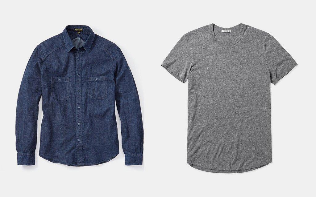 Crossback Work Shirt Flint + Tinder Vintage Tri-Blend Tee Buck Mason
