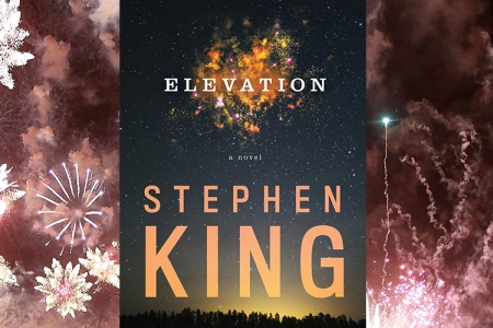 The cover of Stephen King's latest book in front of fireworks, an integral component to the book's plot. Photo illustration by RCL. (Getty)