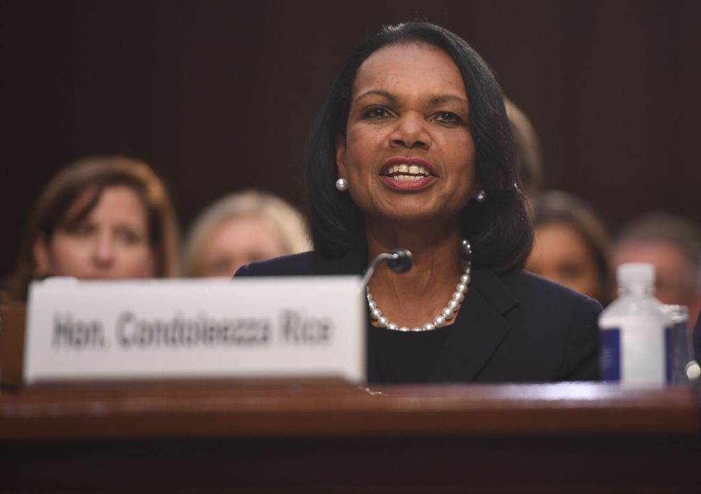 Condoleezza Rice, former US Secretary of State, speaks before the Senate Judiciary Committee during the confirmation hearing for Judge Brett Kavanaugh to be Associate Justice, September 4, 2018 on Capitol Hill in Washington, DC. (Photo by SAUL LOEB/AFP/Getty Images)