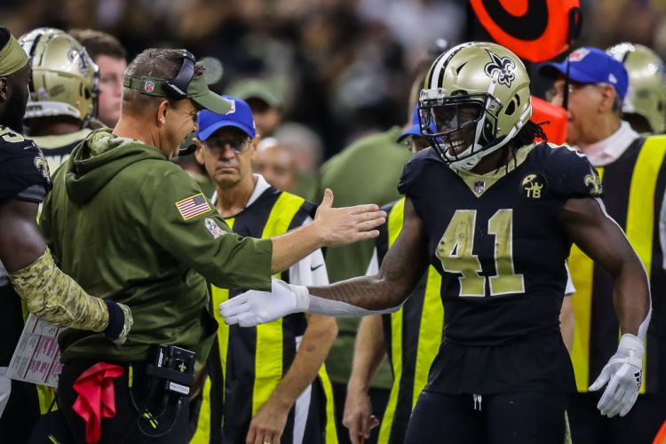 NEW ORLEANS, LA - NOVEMBER 04:  New Orleans Saints head coach Sean Payton celebrates with running back Alvin Kamara (41) against Los Angeles Rams on November 04, 2018 in the second half at the Mercedes-Benz Superdome in New Orleans, LA.  (Photo by Stephen Lew/Icon Sportswire via Getty Images)