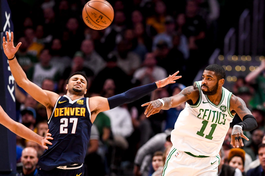 DENVER, CO - NOVEMBER 5: Jamal Murray (27) of the Denver Nuggets defends as Kyrie Irving (11) of the Boston Celtics passes during the second half of the Nuggets' 115-107 win on Monday, November 5, 2018. Jamal Murray (27) of the Denver Nuggets had a game and career high 48 points. (Photo by AAron Ontiveroz/The Denver Post via Getty Images)