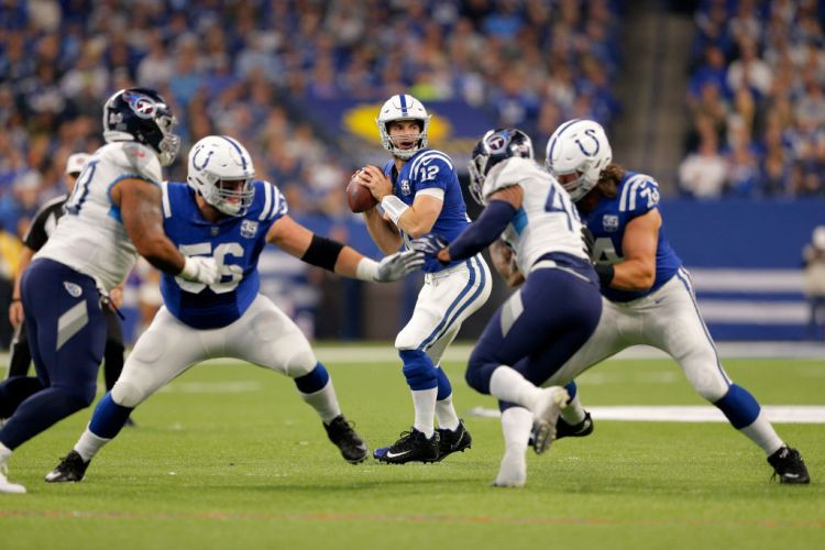INDIANAPOLIS, IN - NOVEMBER 18: Indianapolis Colts Quarterback Andrew Luck (12) looks down field to make the pass during the NFL game between the Tennessee Titans and Indianapolis Colts on November 18, 2018, at Lucas Oil Stadium in Indianapolis, IN. (Photo by Jeffrey Brown/Icon Sportswire via Getty Images)