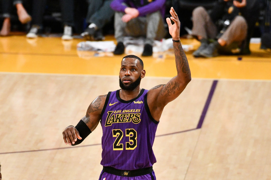 LeBron James passes Wilt Chamberlain on the all-time scoring list during a basketball game between the Los Angeles Lakers and the Portland Trail Blazers  at Staples Center on November 14, 2018 in Los Angeles, California. (Photo by Allen Berezovsky/Getty Images)