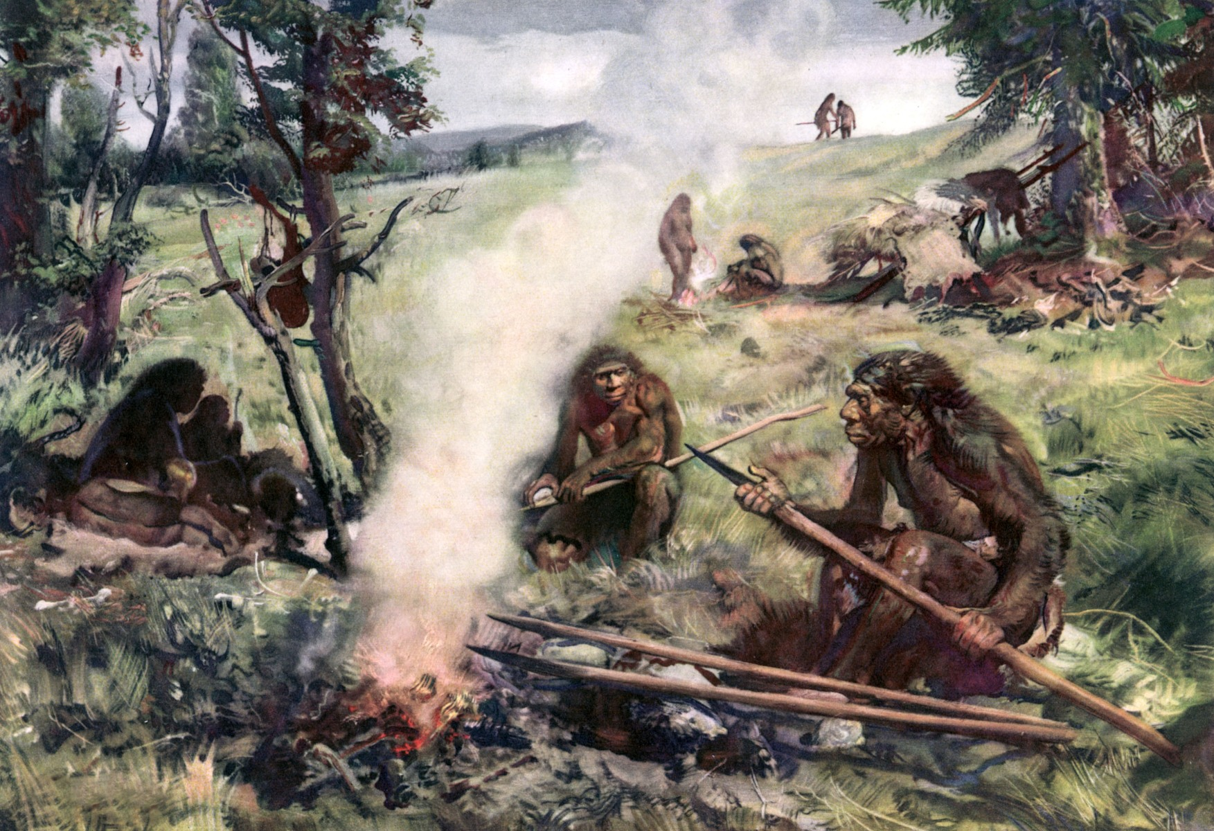 Illustration of Neanderthal man sitting around fire holding lance-like weapon; circa 30,000 BC.  (Photo by Time Life Pictures/Mansell/The LIFE Picture Collection/Getty Images)