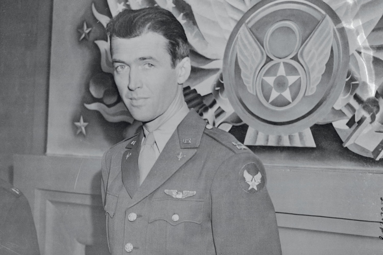 (Original Caption) Commands Bomber Squadron. England: Captain James Stewart has changed his occupation from making feminine hearts throb to making bomber motors roar over occupied territory. The popular film star has arrived in Britain where he commands a squadron of liberator bombers. Captain Stewart, who enlisted in the United States Army nearly three years ago, was a private for nine months.