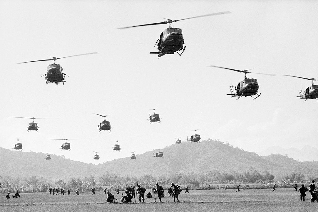 U.S. helicopters land under heavy sniper fire near Bong Son in South Vietnam during Operation Eagle's Claw. (Getty)