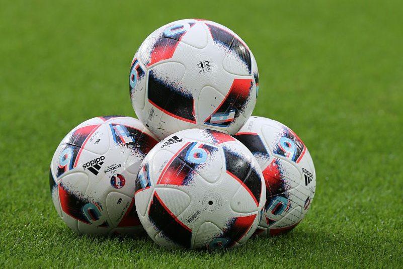 Soccer balls at a UEFA EURO 2016 quarter final match. (VI Images via Getty Images)
