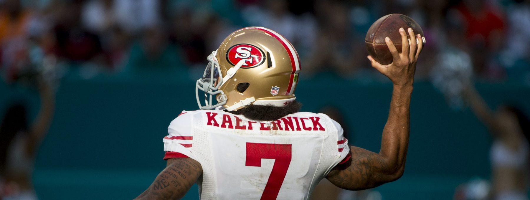 1901426e7b1 San Francisco 49ers Quarterback Colin Kaepernick (7) throws the ball during  the NFL football