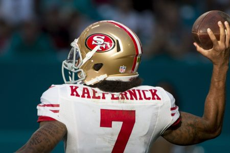 San Francisco 49ers Quarterback Colin Kaepernick (7) throws the ball during the NFL football game between the San Francisco 49ers and the Miami Dolphins on November 27, 2016, at the Hard Rock Stadium in Miami Gardens, FL. (Photo by Doug Murray/Icon Sportswire via Getty Images)