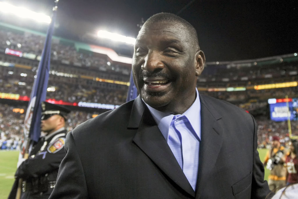 LANDOVER, MD - SEPTEMBER 24: Doug Williams, Senior Vice President of Player Personnel for the Washington Redskins takes the field on September 24, 2017, at FedEx Field in Landover, MD.  The Washington Redskins defeated the Oakland Raiders, 27-10. (Photo by Mark Goldman/Icon Sportswire via Getty Images)