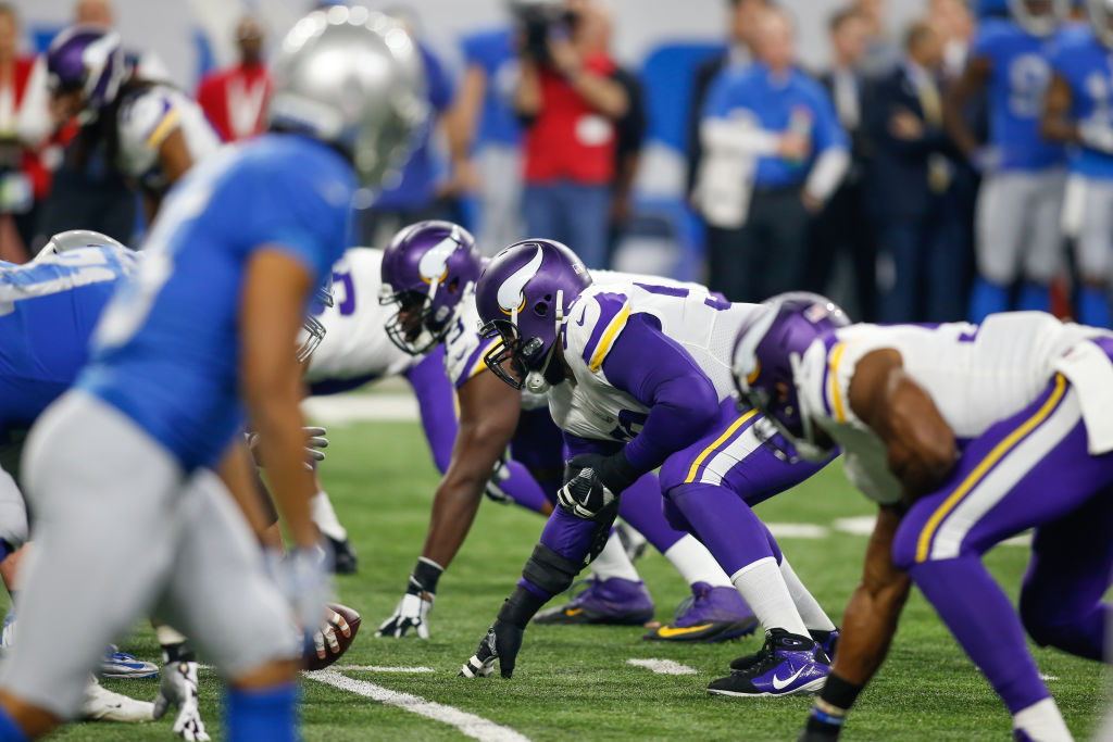 DETROIT, MI - NOVEMBER 23:  The Minnesota defensive line waits for the ball to be snapped during game action between the Minnesota Vikings and the Detroit Lions on November 23, 2017 at Ford Field in Detroit, Michigan.  (Photo by Scott W. Grau/Icon Sportswire via Getty Images)