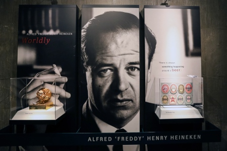 "AMSTERDAM, NETHERLANDS - DECEMBER 21, 2017: A portrait of Dutch businessman Alfred Henry ""Freddy"" Heineken, chairman of the Board of Directors and executive director of Heineken International (1971-1989), on display at the Heineken Experience brewery tour and visitor center. The facility, built in 1867, served as Heineken's primary brewery until 1988. Alexander Ryumin/TASS (Photo by Alexander RyuminTASS via Getty Images)"